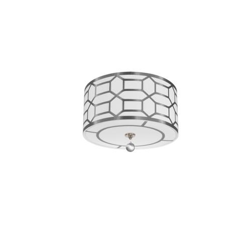 Dainolite Lighting  PEM-153FH-PC-SV 3 Light Flush Mount Drum Shade with Geometric Laminated Trim, Silver ( Platinum Steel & White Linen )