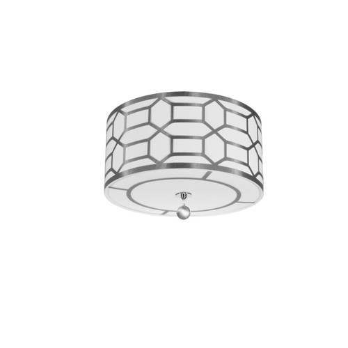 Dainolite Lighting  PEM-184FH-PC-SV 4 Light Flush Mount Drum Shade with Geometric Laminated Trim, Silver ( Platinum & White Linen )