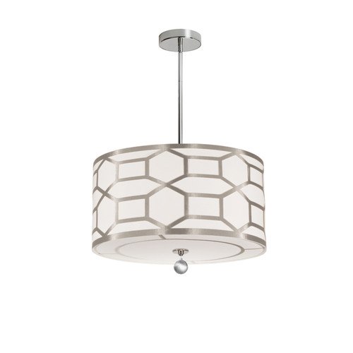 Dainolite Lighting  PEM-194P-PC-WG 4 Light Pendant Drum Shade with Geometric Laminated Trim, Winter Gold ( Pebble & Cream )