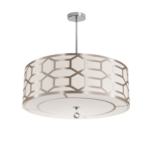 Dainolite Lighting  PEM-244P-PC-WG 4 Light Pendant Drum Shade with Geometric Laminated Trim, Winter Gold ( Pebble & Cream )