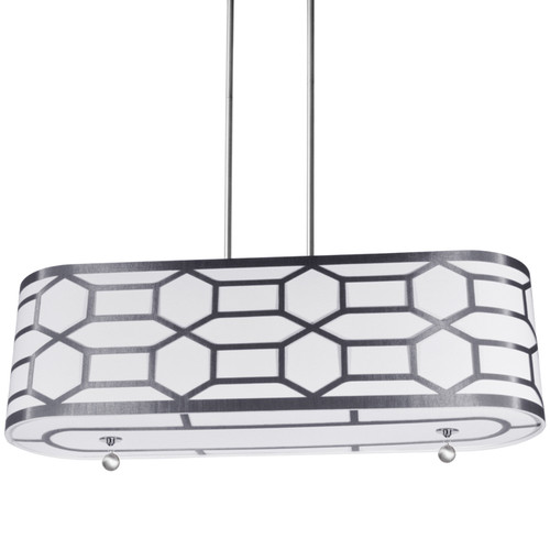 Dainolite Lighting  PEM-344HP-PC-SV 4 Light Horizontal Pendant with Geometric Laminated Trim Silver, ( Platinum Steel & White Linen )