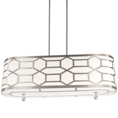 Dainolite Lighting  PEM-344HP-PC-WG 4 Light Horizontal Pendent with Geometric Laminated Trim, Winter Gold ( Pebble & Cream )