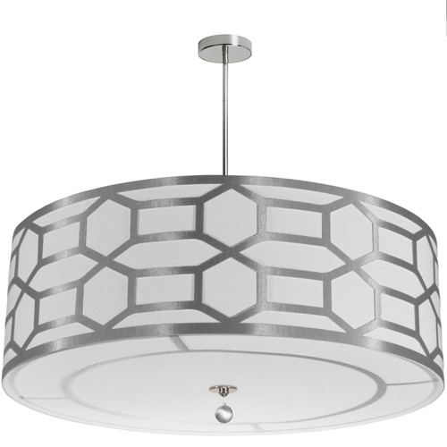 Dainolite Lighting  PEM-488LP-PC-SV 8 Light Drum Shade with Geometric Laminated Trim, Silver ( Platinum & White Linen )