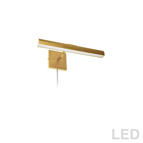"Dainolite Lighting  PIC222-16LED-AGB 20W 16"" Picture Light, Aged Brass with Frosted Glass Diffuser"
