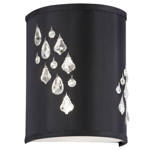 Dainolite Lighting  RHI-8L-2W-694 2 Light Wall Sconce with Crystal Accents,Left Hand Facing, Polished Chrome, Black Baroness Fabric