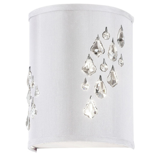 Dainolite Lighting  RHI-8R-2W-693 2 Light Wall Sconce with Crystal Accents, Right Hand Facing, Polished Chrome, White Baroness Fabric