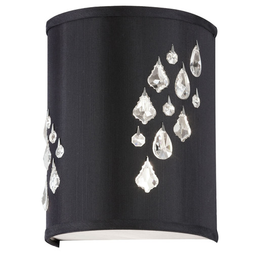 Dainolite Lighting  RHI-8R-2W-694 2 Light Wall Sconce with Crystal Accents, Right Hand Facing, Polished Chrome, Black Baroness Fabric