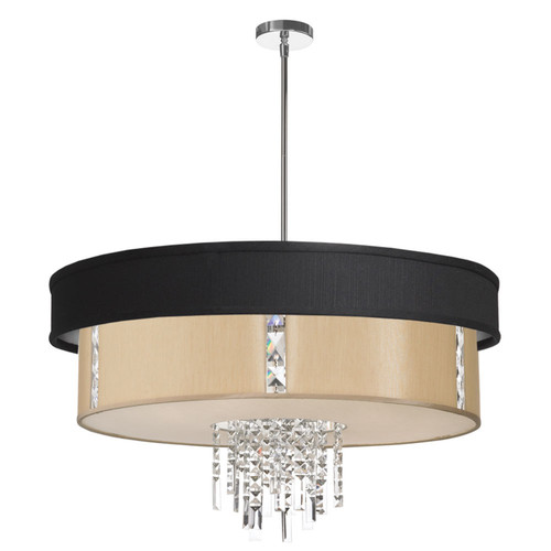 Dainolite Lighting  RITA-31-4-PC-694-839 4 Light Pendant with Crystal Accents, Polished Chrome Finish, Black & Cream Shade with fabric Diffuser
