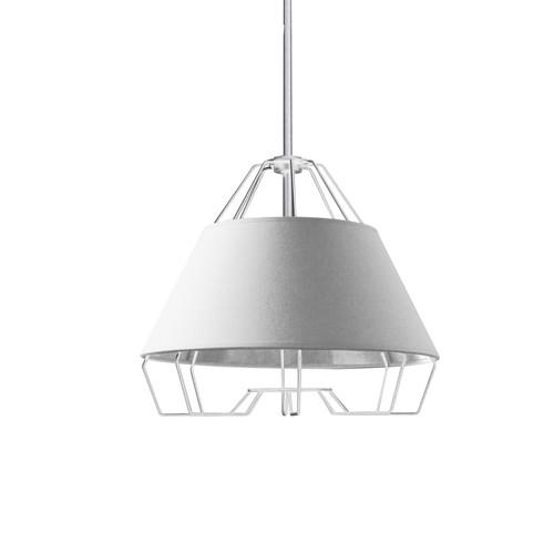Dainolite Lighting  ROC-1512-691 1 Light White Pendant with White on Silver Hardback Shade