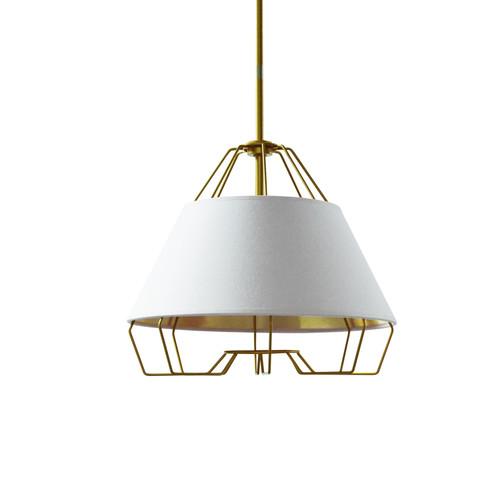 Dainolite Lighting  ROC-1512-692 1 Light Gold Pendant with White on Gold Hardback Shade