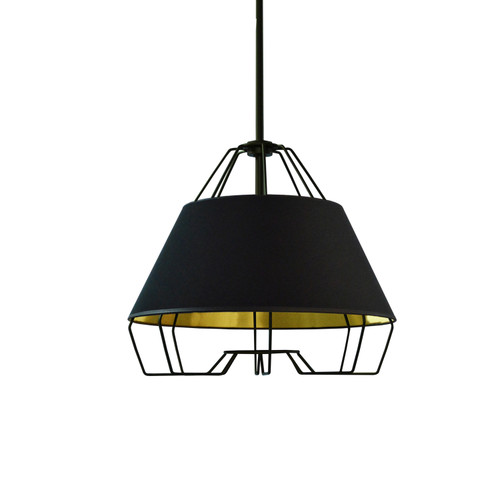 Dainolite Lighting  ROC-1512-698 1 Light Black Pendant with Black on Gold Hardback Shade