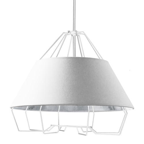 Dainolite Lighting  ROC-2420-691 4 Light White Pendant with White on Silver Hardback Shade