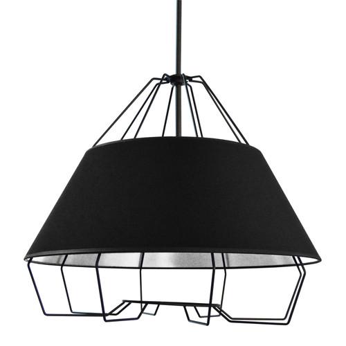 Dainolite Lighting  ROC-2420-697 4 Light Black Pendant with Black on Silver Hardback Shade