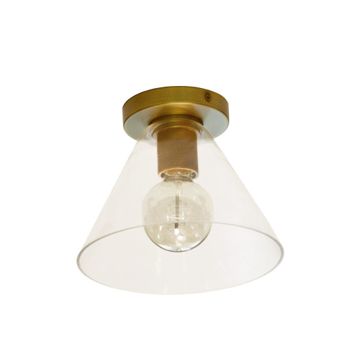 Dainolite Lighting  RSW-91FH-AGB-CLR 1 Light Incandescent Flush Mount, Aged Brass with Clear Glass