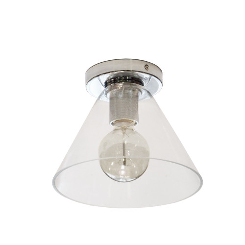 Dainolite Lighting  RSW-91FH-PC-CLR 1 Light Incandescent Flush Mount, Polished Chrome with Clear Glass