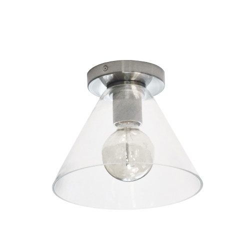 Dainolite Lighting  RSW-91FH-SC-CLR 1 Light Incandescent Flush Mount, Satin Chrome with Clear Glass
