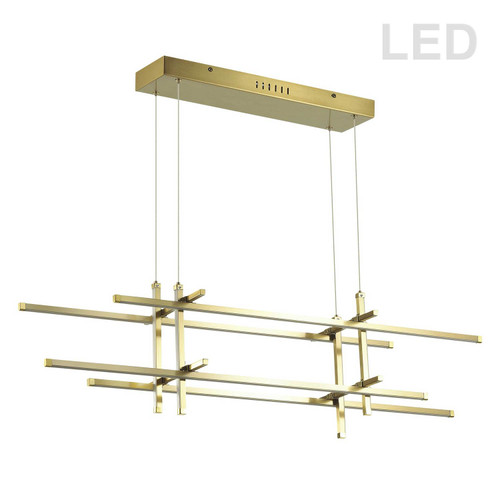 Dainolite Lighting  SAL-4060LEDHP-AGB 60W Horizontal Pendant, Aged Brass with White Acrylic Diffuser
