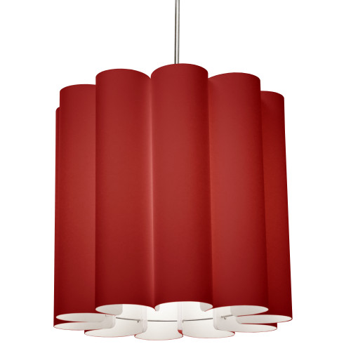 Dainolite Lighting  SAN201-PC-795 1 Light Sandra Pendant JTone Red, Polished Chrome