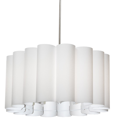 Dainolite Lighting  SAN244-PC-790 4 Light Sandra Pendant, JTone White, Polished Chrome