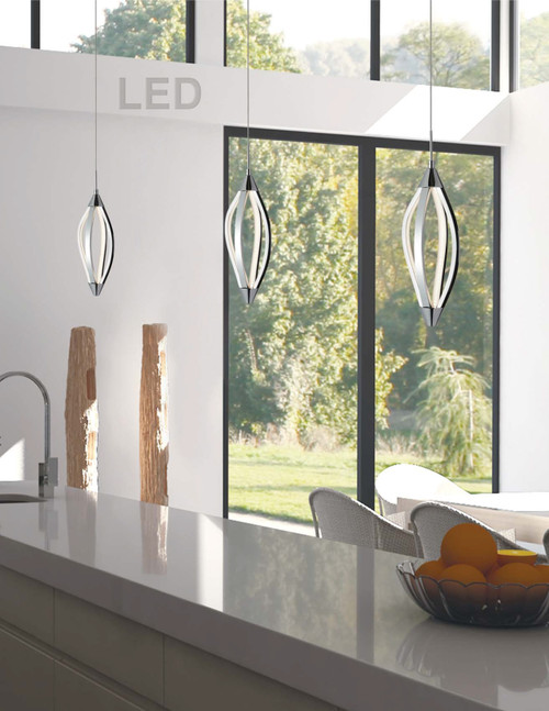 Dainolite Lighting  SEL-6P-PC 15 Watts LED Pendant with Swooped Arms, Polished Chrome Finish
