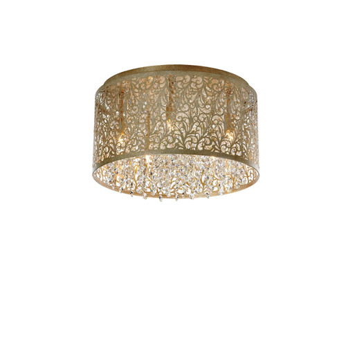 Dainolite Lighting  SIE-145FH-PG 5 Light Crystal Flush Mount With Floral Patter, Palladium Gold Finish