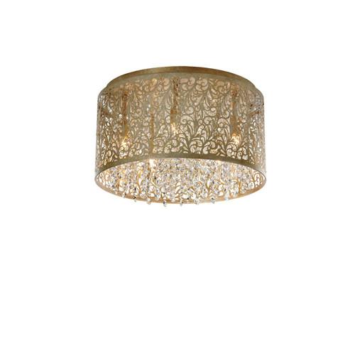 Dainolite Lighting  SIE-145FH-PG 5 Light Crystal Flush Mount With Floral Patter, Palladium Gold Finish