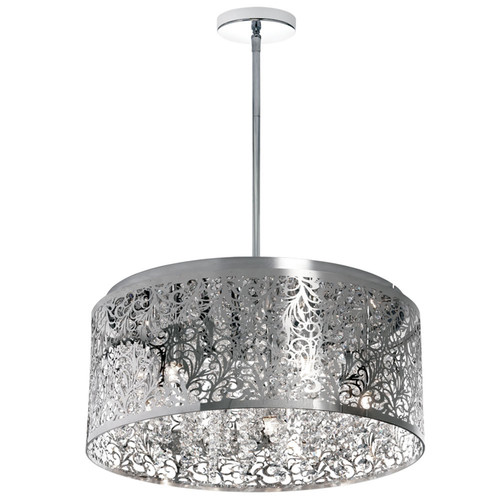 Dainolite Lighting  SIE-208C-PC 8 Light Crystal Chandelier With Floral Pattern, Polished Chrome Finish