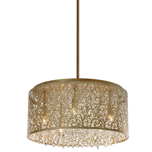 Dainolite Lighting  SIE-208C-PG 8 Light Crystal Chandelier With Floral Pattern, Palladium Gold Finish
