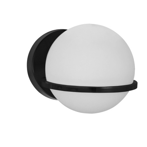 Dainolite Lighting  SOF-61W-MB 1 Light Halogen Wall Sconce, Matte Black with White Glass