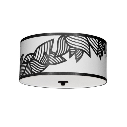 Dainolite Lighting  SOP-153FH-PC-BW 3 Light Flush Mount Polished Chrome Black and White Shade