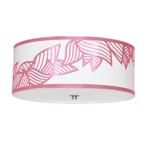 Dainolite Lighting  SOP-184FH-PC-PNK 4 Light Flush Mount Polished Chrome Pink and White Shade
