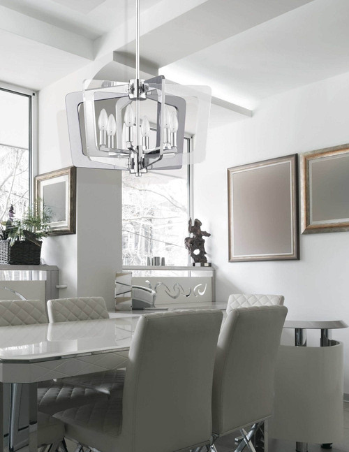 Dainolite Lighting  SWR-206C-PC 6 Light Chandelier, Polished Chrome Finish with Chrome and Clear Acrylic Arms