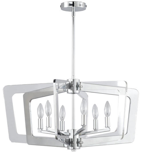 Dainolite Lighting  SWR-266C-PC 6 Light Chandelier, Polished Chrome Finish with Clear Acrylic Arms