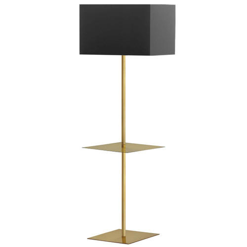 Dainolite Lighting  TAB-S491F-AGB 1 Light Incan Square Base with Square Shelf, Aged Brass with Black Shade