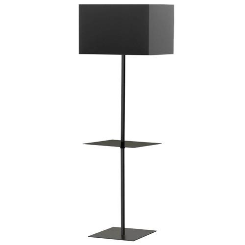 Dainolite Lighting  TAB-S491F-BK 1 Light Incan Square Base with Square Shelf, Matte Black with Black Shade