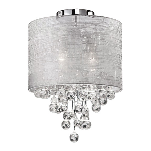 Dainolite Lighting  TAH-122FH-PC 2 Light Incandescent Crystal Flush Mount Polished Chrome Finish with Silver Organza Shade