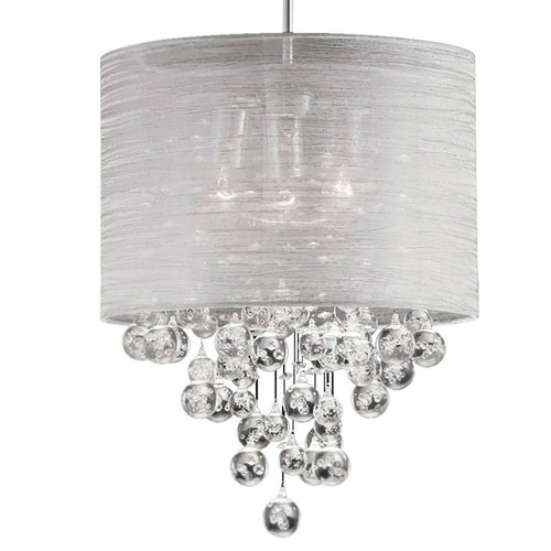 Dainolite Lighting  TAH-153P-PC 3 Light Incandescent Crystal Pendant Polished Chrome Finish with Silver Organza Shade