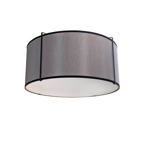 Dainolite Lighting  TRA-121FH-BK-GRY 2 Light Drum Flush Mount, Black/Grey Shade, 790 Diffuser,Black