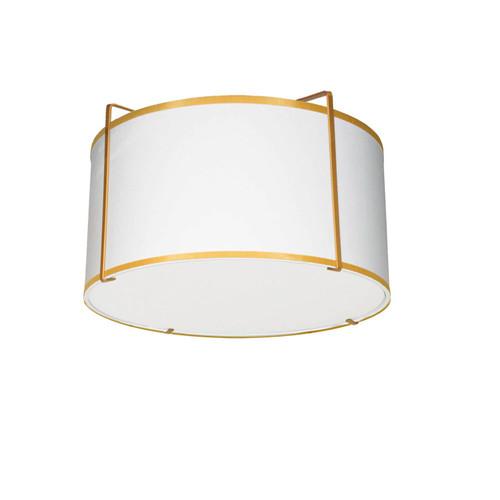 Dainolite Lighting  TRA-121FH-GLD-WH 2 Light Drum Flush Mount, Gold/White Shade, 790 Diffuser,Gold