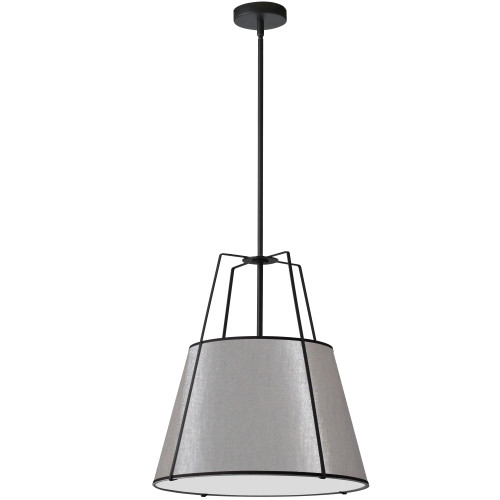 Dainolite Lighting  TRA-1P-BK-GRY 1 Light Trapezoid Pendant Black Grey Shade with 790 Diffuser