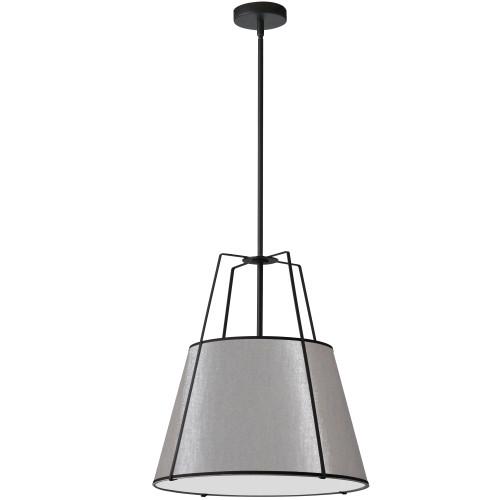 Dainolite Lighting  TRA-1P-BK-GRY 1 Light Trapezoid Pendant Black Grey Shade with 790 Diffuser