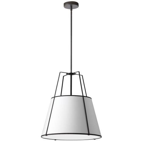 Dainolite Lighting  TRA-1P-BK-WH 1 Light Trapezoid Pendant Black White Shade with 790 Diffuser