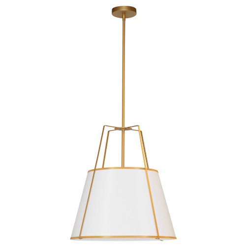 Dainolite Lighting  TRA-1P-GLD-WH 1 Light Trapezoid Pendant Gold frame and White Shade w/ 790 Diffuser