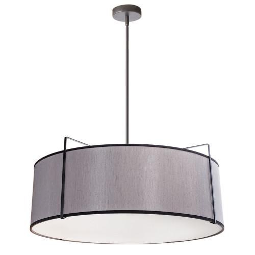 Dainolite Lighting  TRA-244P-BK-GRY 4 Light Drum Pendant, Black/Grey Shade, 790 Diffuser,Black