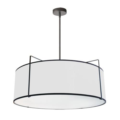 Dainolite Lighting  TRA-244P-BK-WH 4 Light Drum Pendant, Black/White Shade, 790 Diffuser, Black