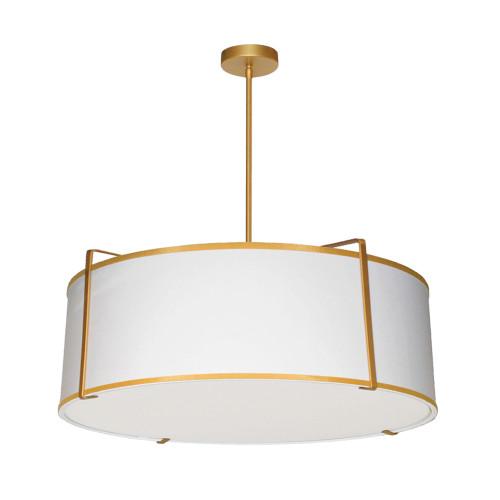 Dainolite Lighting  TRA-244P-GLD-WH 4 Light Drum Pendant, Gold/White Shade, 790 Diffuser,Gold