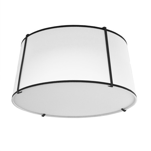 Dainolite Lighting  TRA-3FH-BK-WH 3 Light Trapezoid Flush Mount Black White Shade with 790 Diffuser