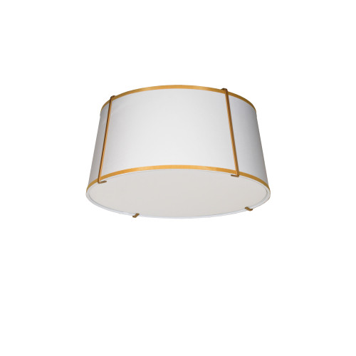 Dainolite Lighting  TRA-3FH-GLD-WH 3 Light Trapezoid Flush Mount Gold frame and White Shade w/ 790 Diffuser