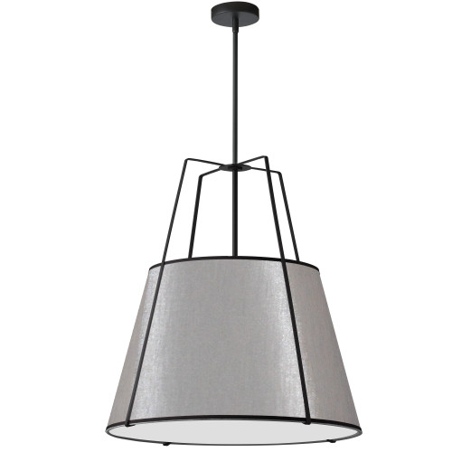 Dainolite Lighting  TRA-3P-BK-GRY 3 Light Trapezoid Pendant Black Grey Shade with 790 Diffuser