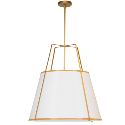 Dainolite Lighting  TRA-3P-GLD-WH 3 Light Trapezoid Pendant Gold frame and White Shade w/790 Diffuser